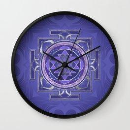 Sri Yantra  / Sri Chakra Purple and Silver Wall Clock