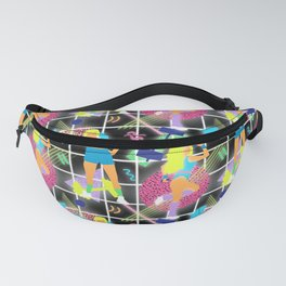 Neon 80's Fitness in Black Grid Fanny Pack