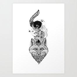 Fox Space Forest Art Print
