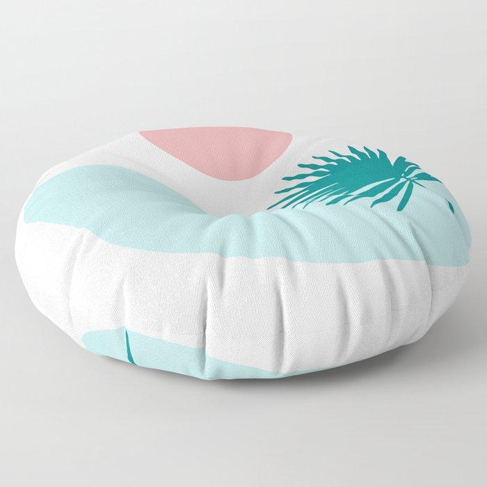 Tropical Beach, Minimalist Abstract Illustration Floor Pillow