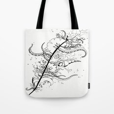 Abstract Art Unique Trending Bird Feather Sea Life Ocean Shells Sand Octopus  Tote Bag