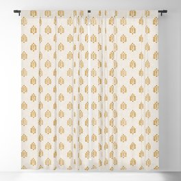 block print palm in golden on natural Blackout Curtain