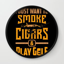 Smoker Smoking Smoke Cigars Play Golf Golfer Gift Wall Clock