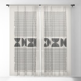 Mid Century Modern Geometric Sheer Curtain