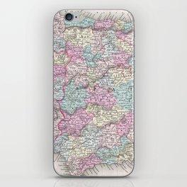 Vintage Map of Spain (1855) iPhone Skin