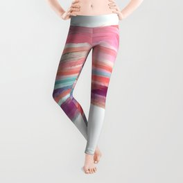 Waved Ballet Dancer Pink Art Leggings