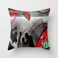 boxing Throw Pillows featuring Boxing by Robin Curtiss