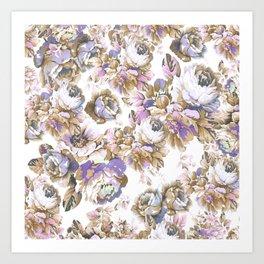 Bohemian vintage rustic brown lavender floral Art Print