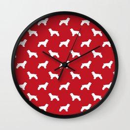 Cocker Spaniel red and white minimal modern pet art dog silhouette dog breeds pattern Wall Clock