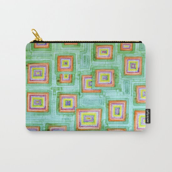 Multicolored Squares on Green Pattern  Carry-All Pouch