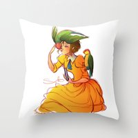 jane davenport Throw Pillows featuring Jane by Samanthadoodles