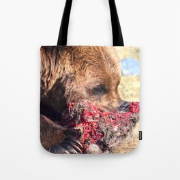 Hungry Alaskan Grizzly Bear - Eating Raw Meat Tote Bag