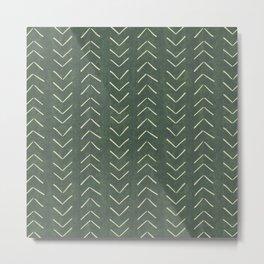 Mudcloth Big Arrows in Leaf Green Metal Print