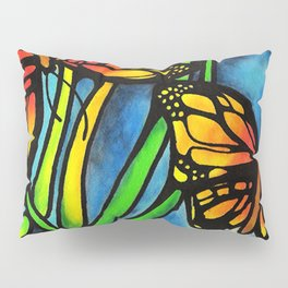 Beautiful Monarch Butterflies Fluttering Over Palm Fronds by annmariescreations Pillow Sham