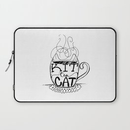 Kittea Cat - Tea Lover - Cat Lover - Mug Cup Lettering - Line Art Laptop Sleeve