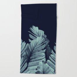 Navy Blue Banana Leaves Dream #1 #tropical #decor #art #society6 Beach Towel