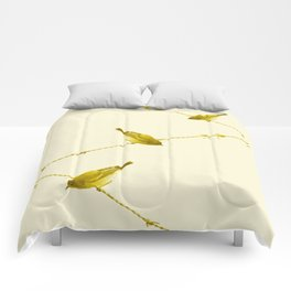 Monochrome - Yellow warblers on the wire Comforters