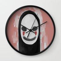 studio ghibli Wall Clocks featuring Studio Ghibli-Spirited Away by Devilphernelia
