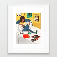 ramones Framed Art Prints featuring Practice Time 3 by Chinworth Illustration