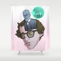 woody allen Shower Curtains featuring Id, Ego & Superego of Woody Allen by Alejo Malia