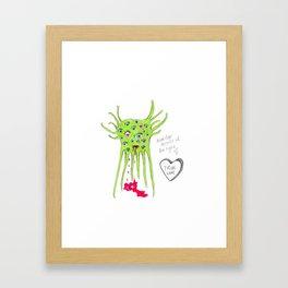 Alien Monster in love Framed Art Print