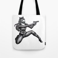 catwoman Tote Bags featuring Catwoman  by Elizabeth A