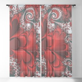 Red Sweetheart Fractal Sheer Curtain