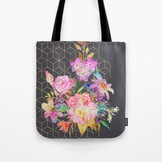 Modern watercolor floral and gold geometric cubes Tote Bag