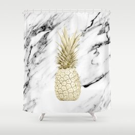 Gold Pineapple on Marble Shower Curtain
