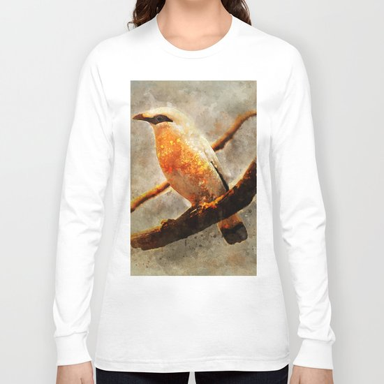 Orange and white bird on the branch Long Sleeve T-shirt