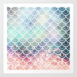 Mermaid Scales Coral and Turquoise Art Print