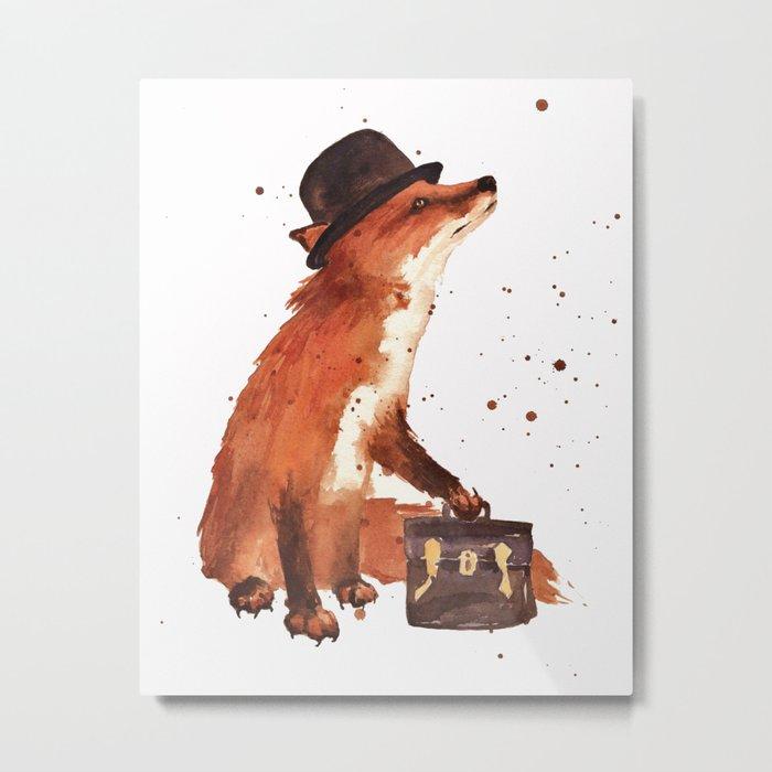 Fox in hat, office decor, gift for the boss, fox, fox painting, British fox Metal Print