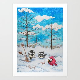 Winter: Two Chickadees and a Cardinal Art Print
