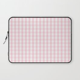 Light Soft Pastel Pink and White Gingham Check Plaid Laptop Sleeve