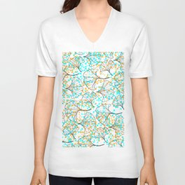 grid in yellow and blue and petals Unisex V-Neck