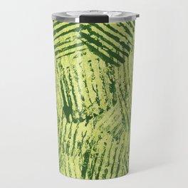 Green striped abstract Travel Mug