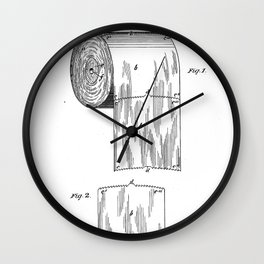 Toilet Paper Patent - Bathroom Art - Black And White Wall Clock