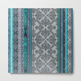 Teal, Aqua & Grey Vintage Bohemian Wallpaper Stripes Metal Print