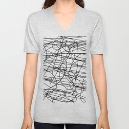 Yellow with black scribbling lines, less is more Unisex V-Neck