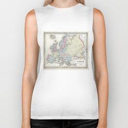 Vintage Map of Europe (1855) Biker Tank
