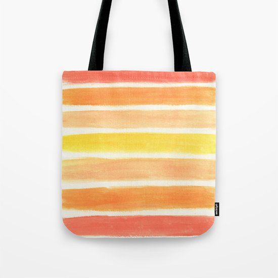 Orange Striped Abstract Tote Bag