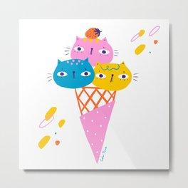 Gato Gelato - ice-cream cats Metal Print