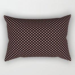 Black and Canyon Rose Polka Dots Rectangular Pillow