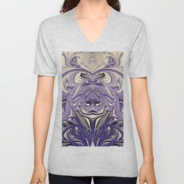 Blue Oil Gestalt Abstract III Art Unisex V-Neck