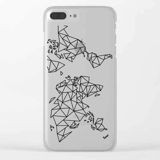 Geometric Low Poly Map of The World / Polygon geometry Clear iPhone Case