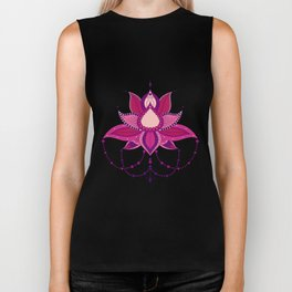 Ethnic flower lotus mandala ornament Biker Tank