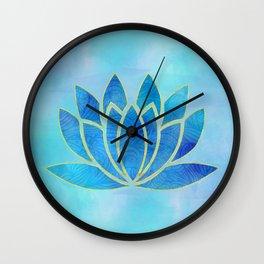 Blue Watercolor Lotus Flower Art Wall Clock