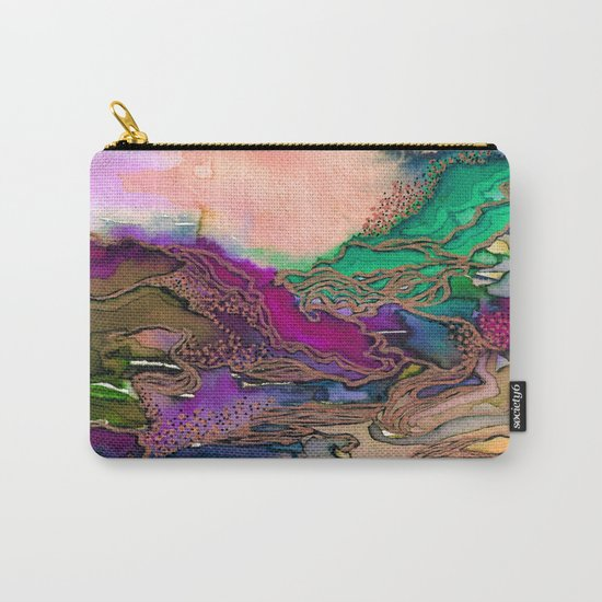 BRING ON BOHEMIA 1 Bold Rainbow Colorful Watercolor Abstract Metallic Accent Summer Peach Pink Green Carry-All Pouch