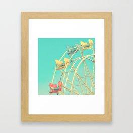 Vintage fairground photograph, teal, red, yellow, Ferris Wheel Framed Art Print