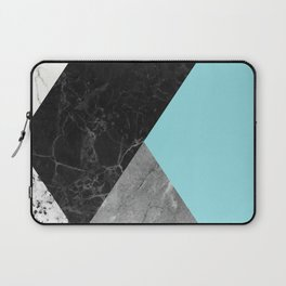 Black and White Marbles and Pantone Island Paradise Color Laptop Sleeve